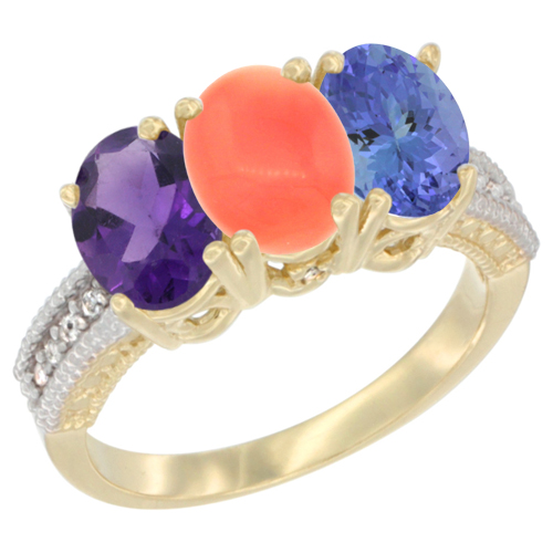 14K Yellow Gold Natural Amethyst, Coral & Tanzanite Ring 3-Stone 7x5 mm Oval Diamond Accent, sizes 5 - 10