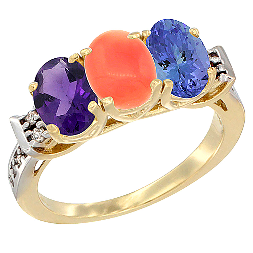 10K Yellow Gold Natural Amethyst, Coral & Tanzanite Ring 3-Stone Oval 7x5 mm Diamond Accent, sizes 5 - 10