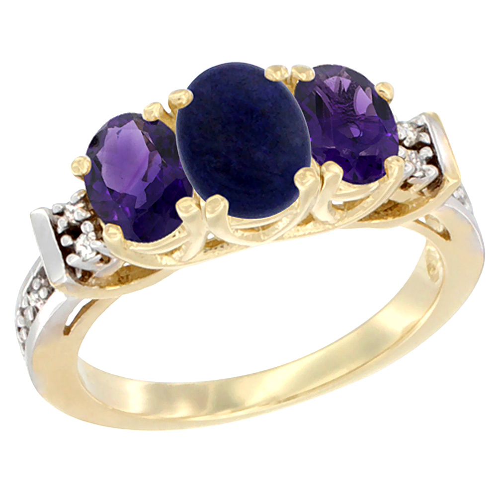 14K Yellow Gold Natural Lapis & Amethyst Ring 3-Stone Oval Diamond Accent