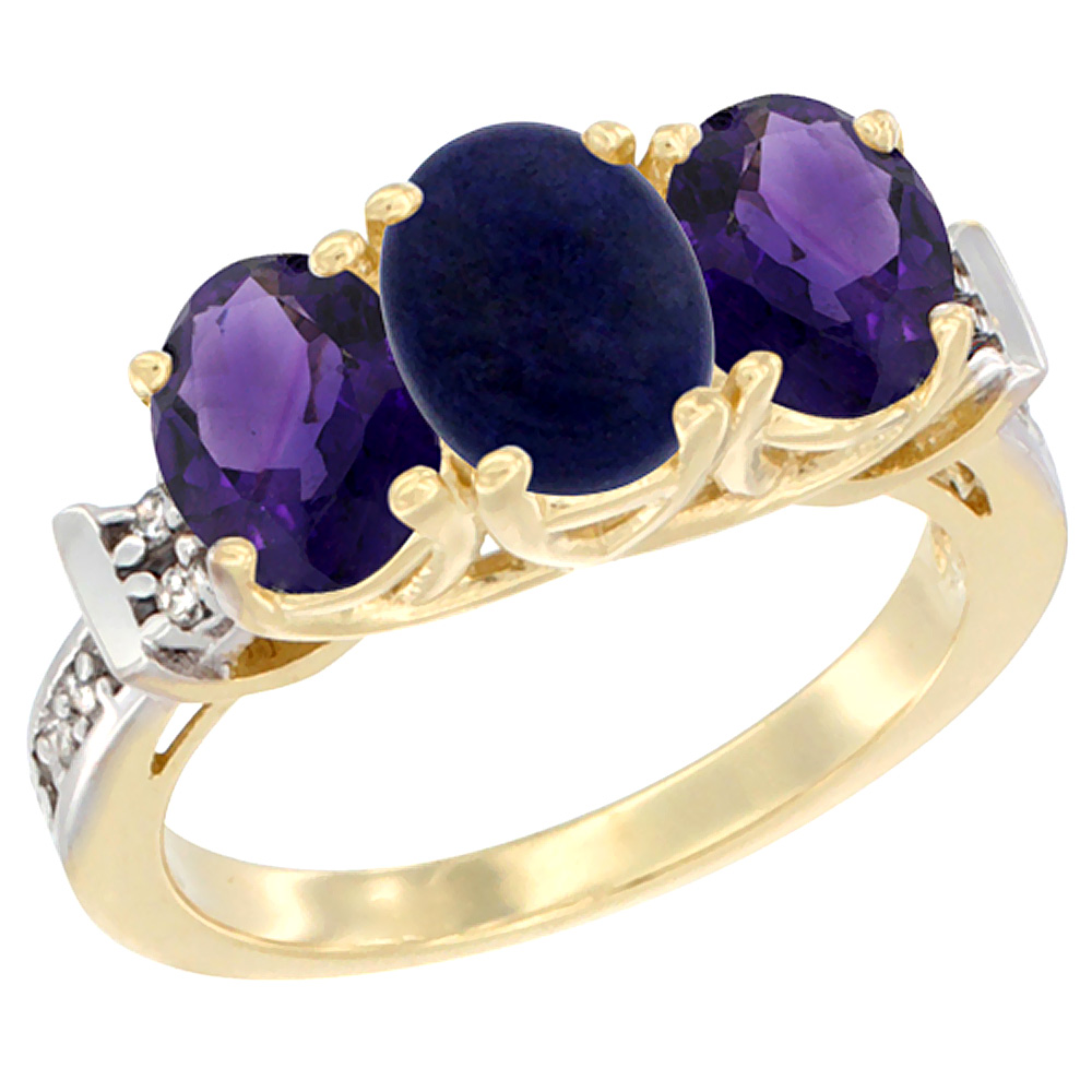 14K Yellow Gold Natural Lapis & Amethyst Sides Ring 3-Stone Oval Diamond Accent, sizes 5 - 10