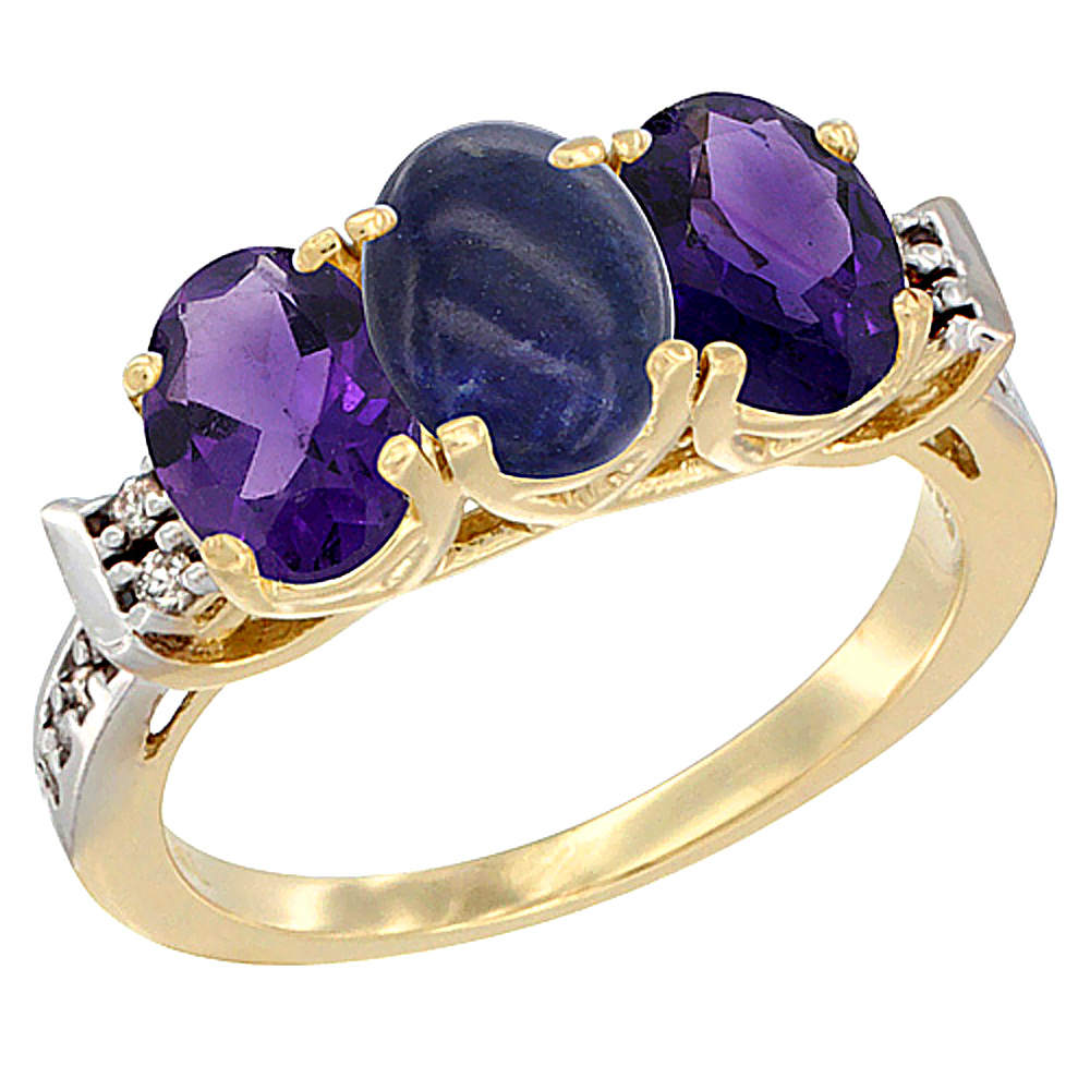 10K Yellow Gold Natural Lapis & Amethyst Sides Ring 3-Stone Oval 7x5 mm Diamond Accent, sizes 5 - 10