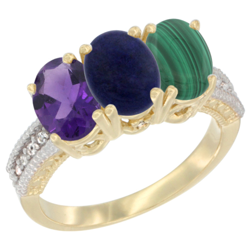 10K Yellow Gold Diamond Natural Amethyst, Lapis & Malachite Ring Oval 3-Stone 7x5 mm,sizes 5-10