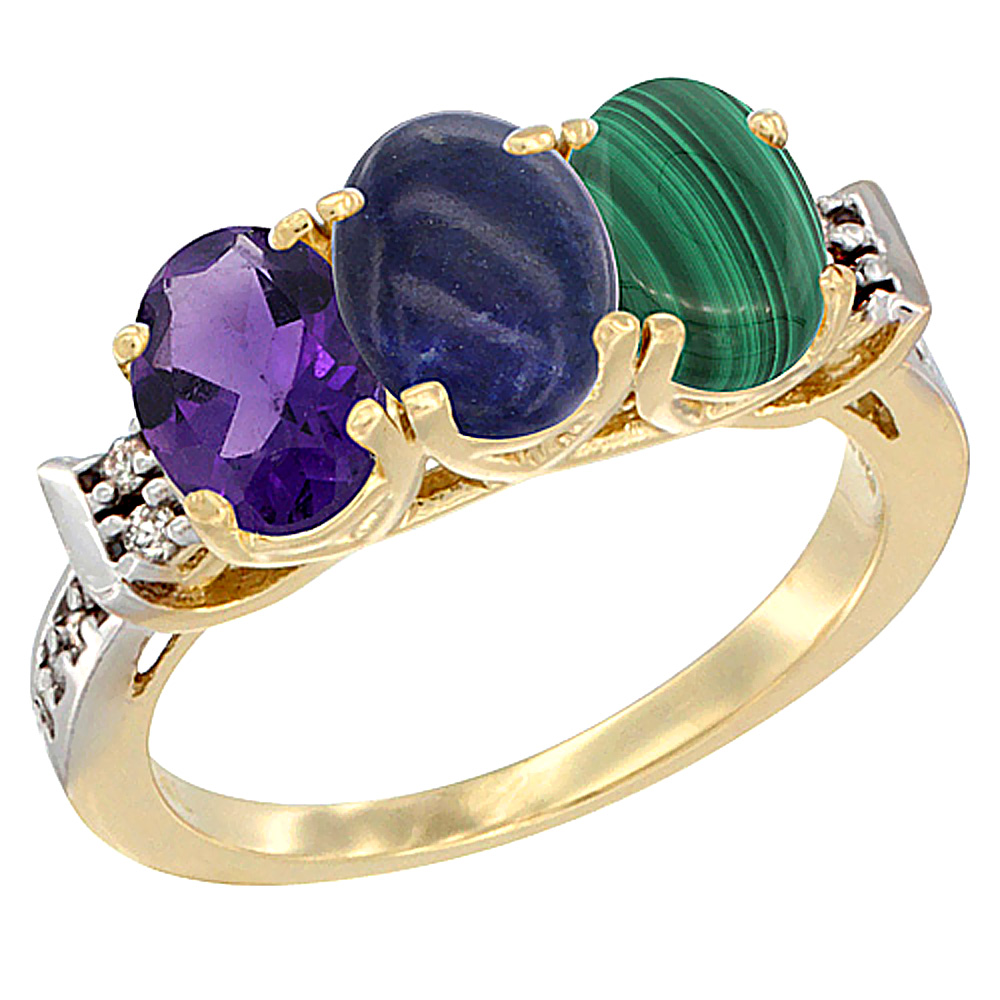 10K Yellow Gold Natural Amethyst, Lapis & Malachite Ring 3-Stone Oval 7x5 mm Diamond Accent, sizes 5 - 10