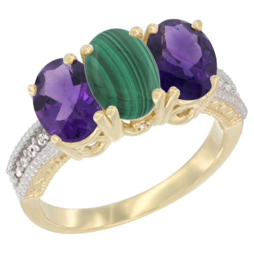 14K Yellow Gold Natural Malachite & Amethyst Ring 3-Stone 7x5 mm Oval Diamond Accent, sizes 5 - 10