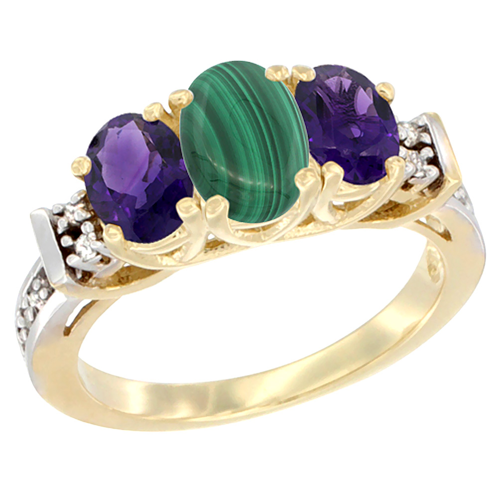 14K Yellow Gold Natural Malachite & Amethyst Ring 3-Stone Oval Diamond Accent
