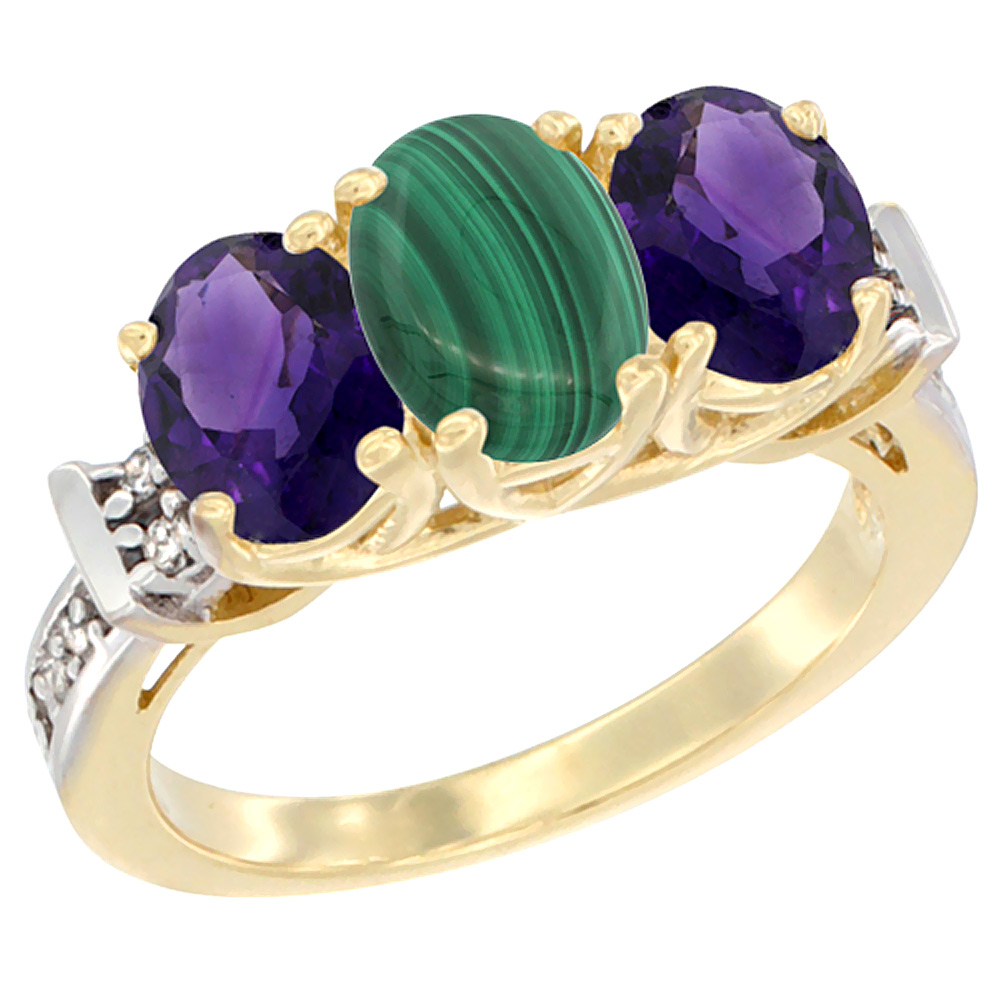 10K Yellow Gold Natural Malachite & Amethyst Sides Ring 3-Stone Oval Diamond Accent, sizes 5 - 10
