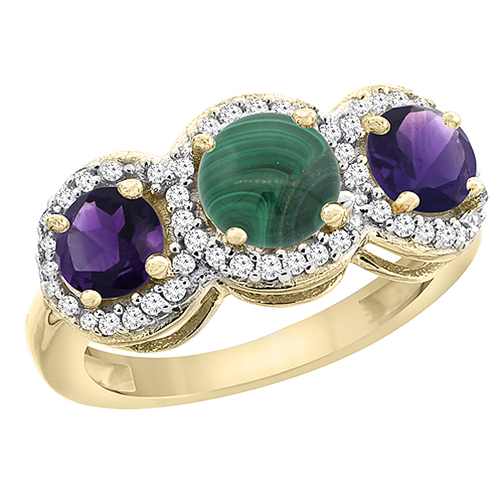 14K Yellow Gold Natural Malachite & Amethyst Sides Round 3-stone Ring Diamond Accents, sizes 5 - 10