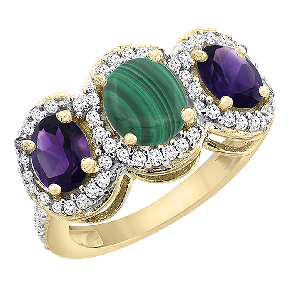 14K Yellow Gold Natural Malachite & Amethyst 3-Stone Ring Oval Diamond Accent, sizes 5 - 10