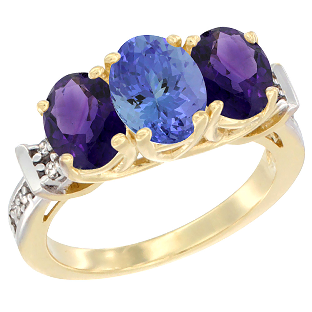 14K Yellow Gold Natural Tanzanite & Amethyst Sides Ring 3-Stone Oval Diamond Accent, sizes 5 - 10