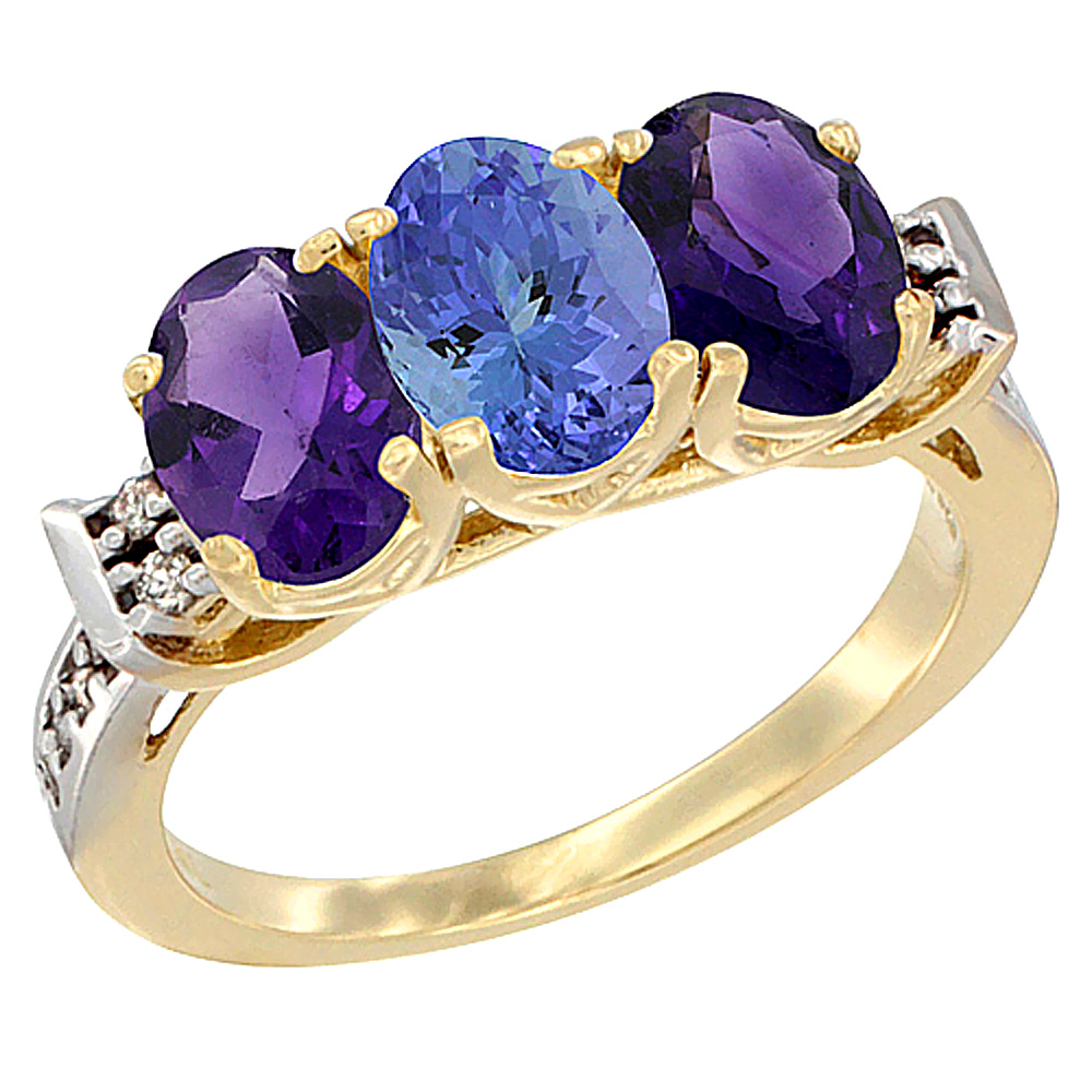 14K Yellow Gold Natural Tanzanite & Amethyst Sides Ring 3-Stone 7x5 mm Oval Diamond Accent, sizes 5 - 10