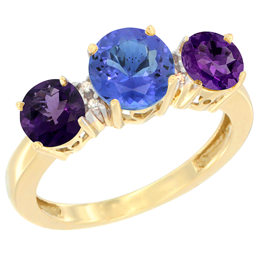 14K Yellow Gold Round 3-Stone Natural Tanzanite Ring & Amethyst Sides Diamond Accent, sizes 5 - 10