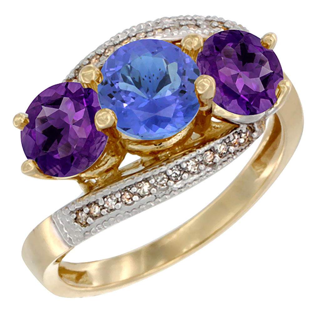 14K Yellow Gold Natural Tanzanite & Amethyst Sides 3 stone Ring Round 6mm Diamond Accent, sizes 5 - 10