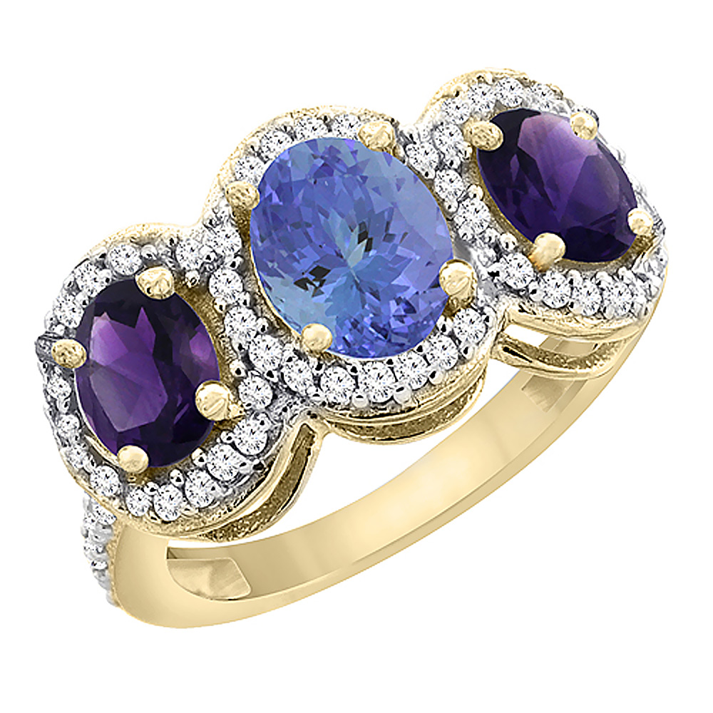 14K Yellow Gold Natural Tanzanite & Amethyst 3-Stone Ring Oval Diamond Accent, sizes 5 - 10