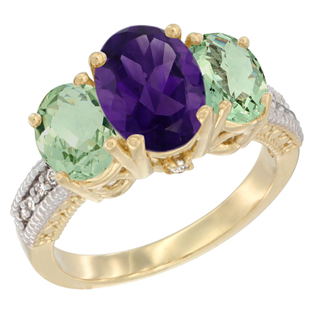 10K Yellow Gold Natural Amethyst Ring Ladies 3-Stone 8x6 Oval with Green Amethyst Sides Diamond Accent, sizes 5 - 10