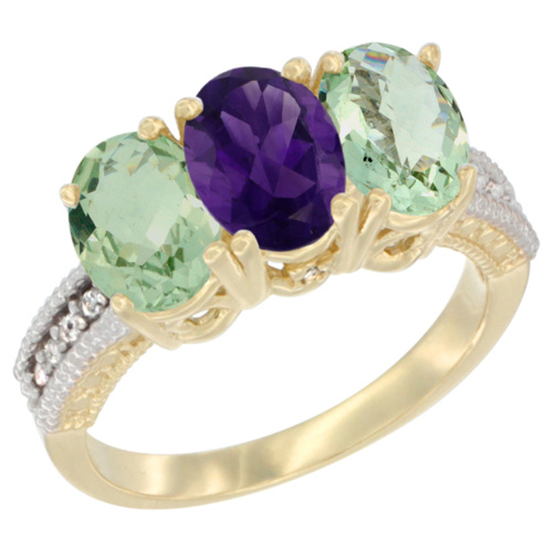10K Yellow Gold Diamond Natural Amethyst & Green Amethyst Ring Oval 3-Stone 7x5 mm,sizes 5-10