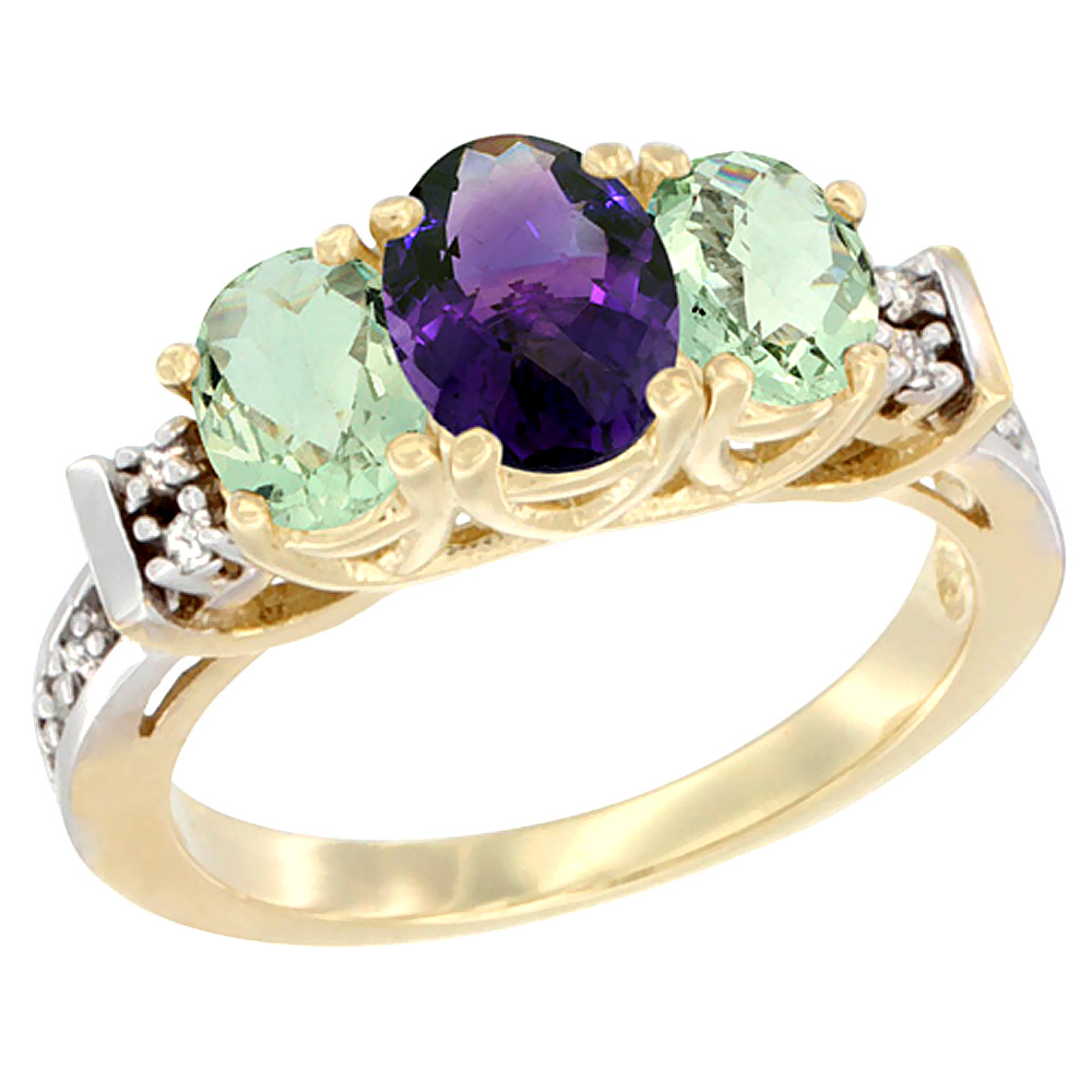 14K Yellow Gold Natural Amethyst & Green Amethyst Ring 3-Stone Oval Diamond Accent