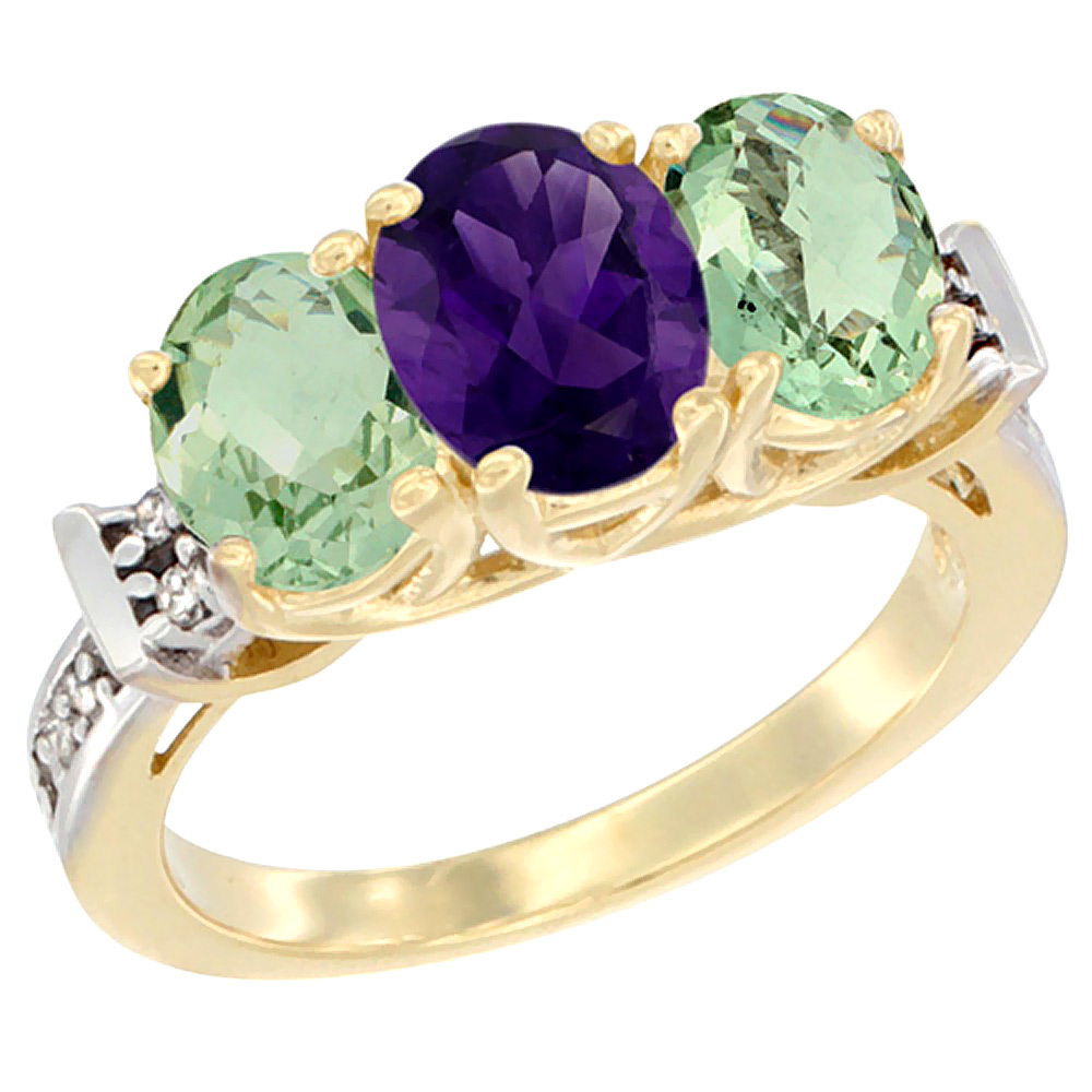 10K Yellow Gold Natural Purple & Green Amethysts Ring 3-Stone Oval Diamond Accent, sizes 5 - 10