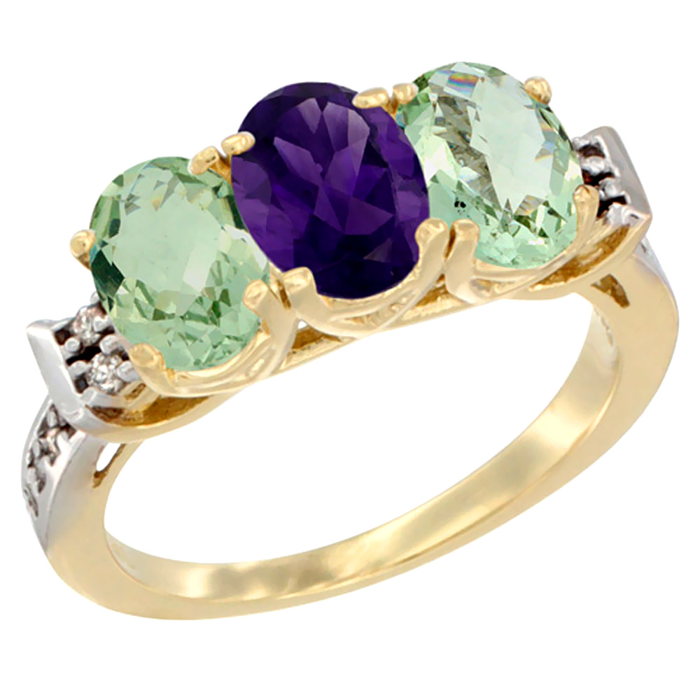 10K Yellow Gold Natural Amethyst & Green Amethyst Sides Ring 3-Stone Oval 7x5 mm Diamond Accent, sizes 5 - 10