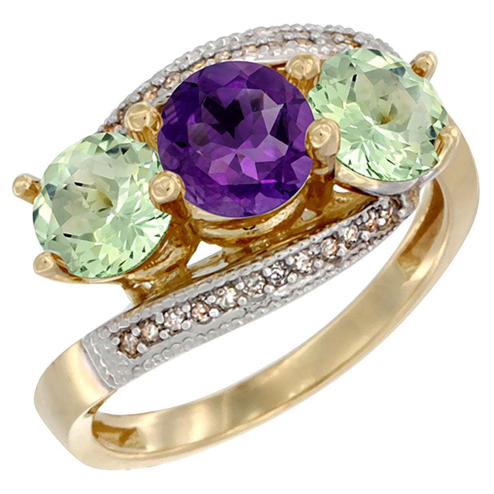 14K Yellow Gold Natural Purple & Green Amethyst Sides 3 stone Ring Round 6mm Diamond Accent, sizes 5 - 10