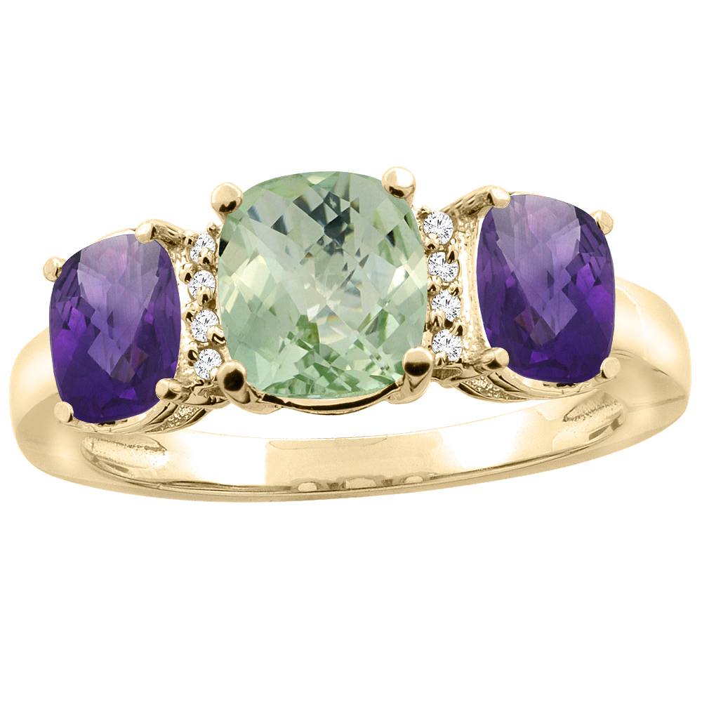 10K Yellow Gold Natural Green Amethyst & Amethyst 3-stone Ring Cushion 8x6mm Diamond Accent, sizes 5 - 10