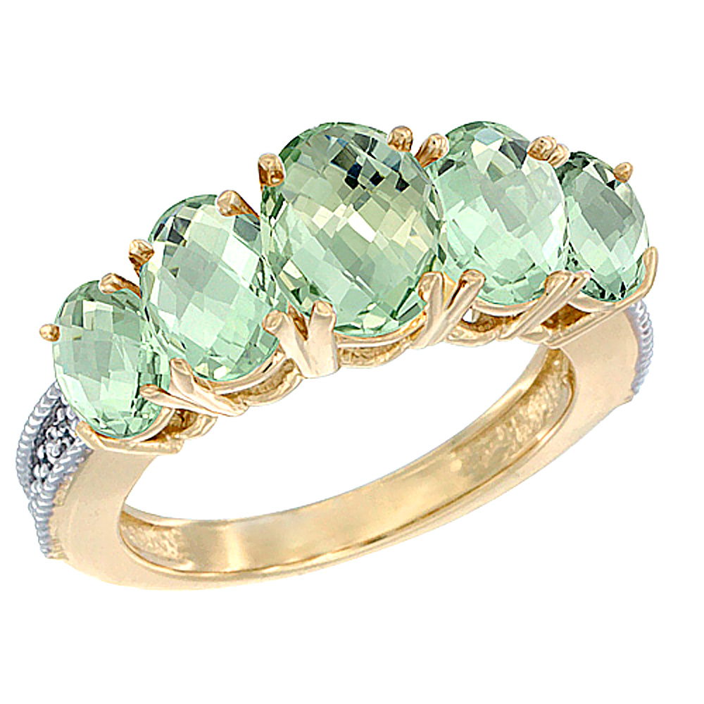 10K Yellow Gold Diamond Natural Green Amethyst Ring 5-stone Oval 8x6 Ctr,7x5,6x4 sides, sizes 5 - 10