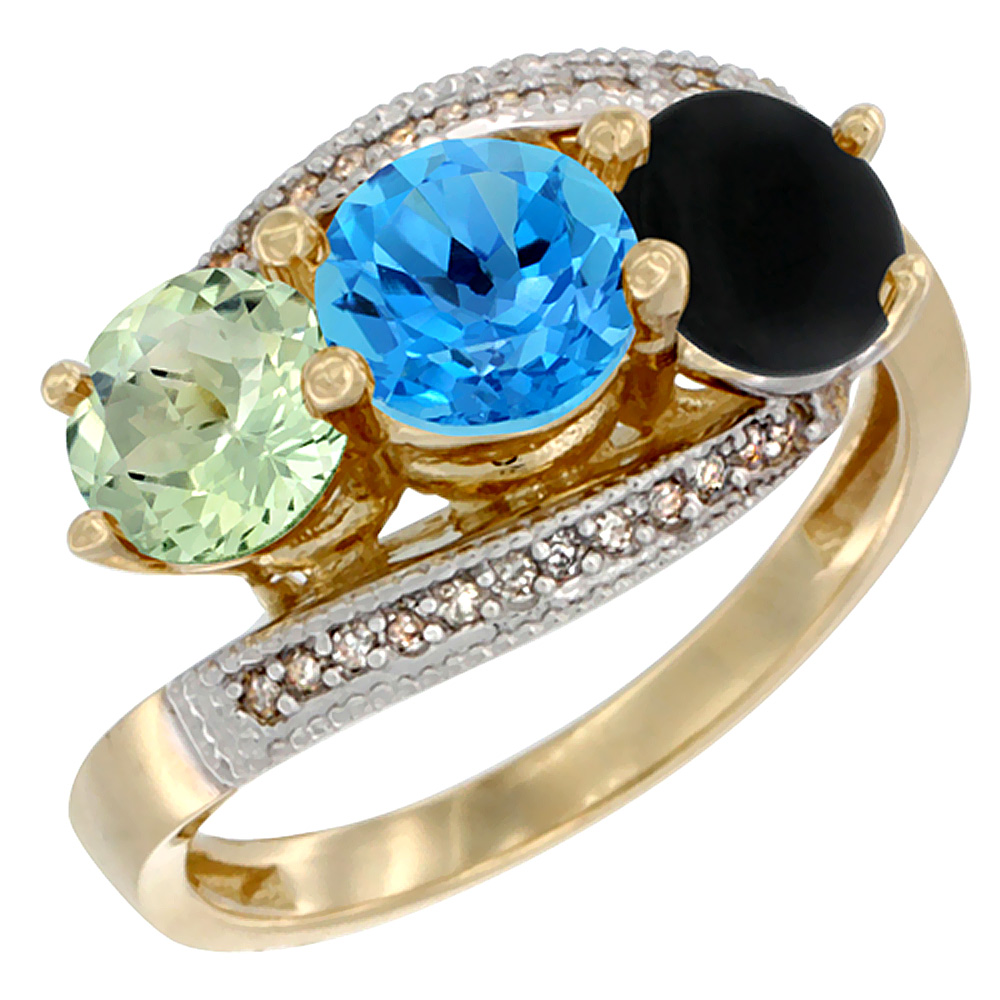 14K Yellow Gold Natural Green Amethyst, Swiss Blue Topaz & Black Onyx 3 stone Ring Round 6mm Diamond Accent, sizes 5 - 10