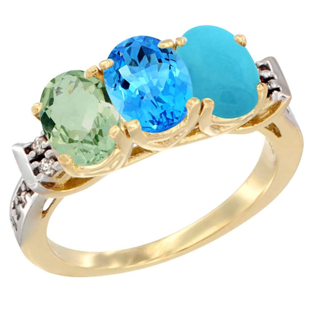 14K Yellow Gold Natural Green Amethyst, Swiss Blue Topaz & Turquoise Ring 3-Stone 7x5 mm Oval Diamond Accent, sizes 5 - 10