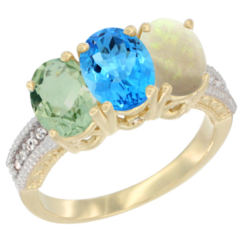 14K Yellow Gold Natural Green Amethyst, Swiss Blue Topaz & Opal Ring 3-Stone 7x5 mm Oval Diamond Accent, sizes 5 - 10