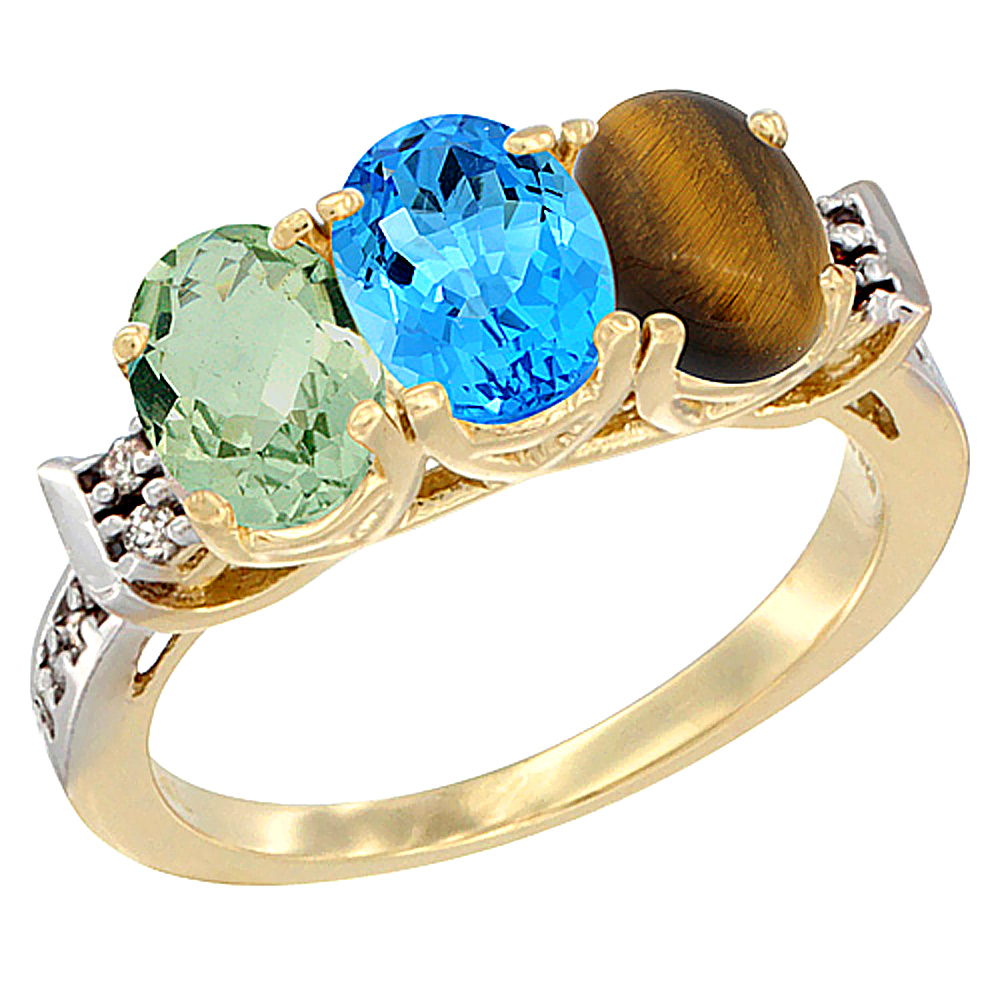 14K Yellow Gold Natural Green Amethyst, Swiss Blue Topaz & Tiger Eye Ring 3-Stone 7x5 mm Oval Diamond Accent, sizes 5 - 10