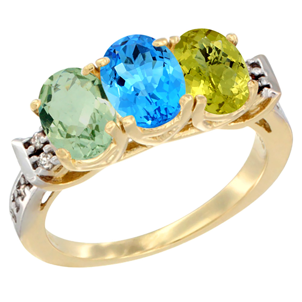 14K Yellow Gold Natural Green Amethyst, Swiss Blue Topaz & Lemon Quartz Ring 3-Stone 7x5 mm Oval Diamond Accent, sizes 5 - 10