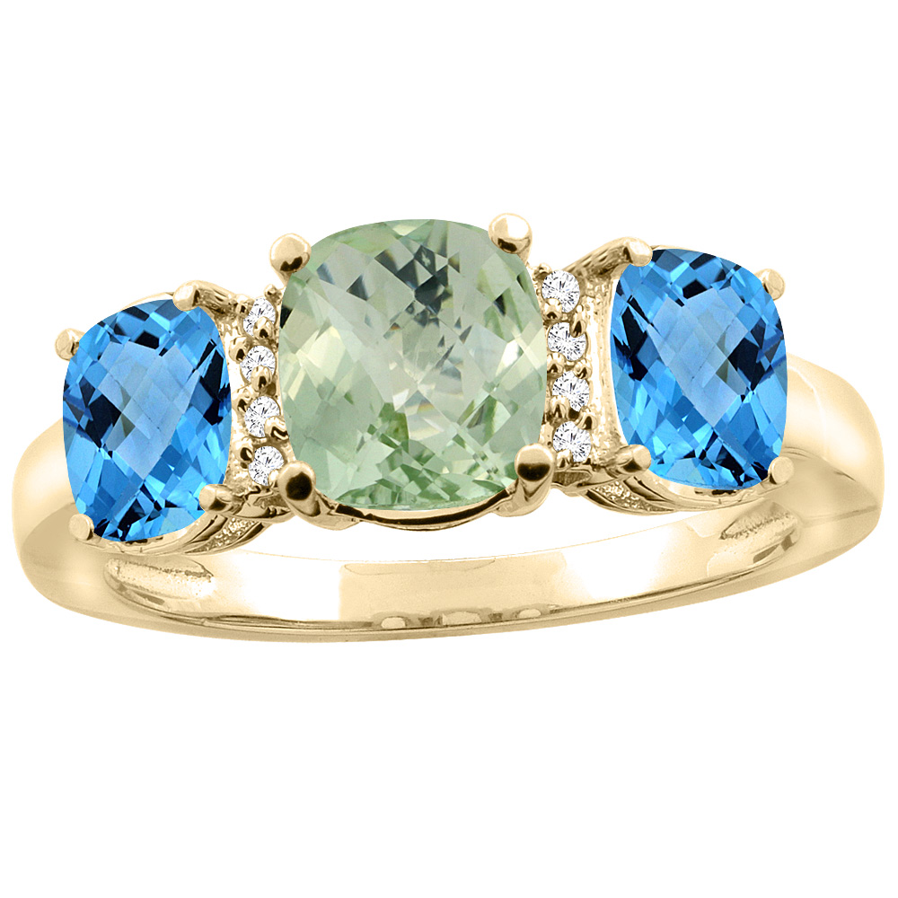 14K Yellow Gold Natural Green Amethyst & Swiss Blue Topaz 3-stone Ring Cushion 8x6mm Diamond Accent, sizes 5 - 10