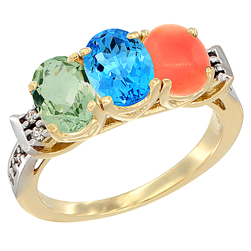 14K Yellow Gold Natural Green Amethyst, Swiss Blue Topaz & Coral Ring 3-Stone 7x5 mm Oval Diamond Accent, sizes 5 - 10