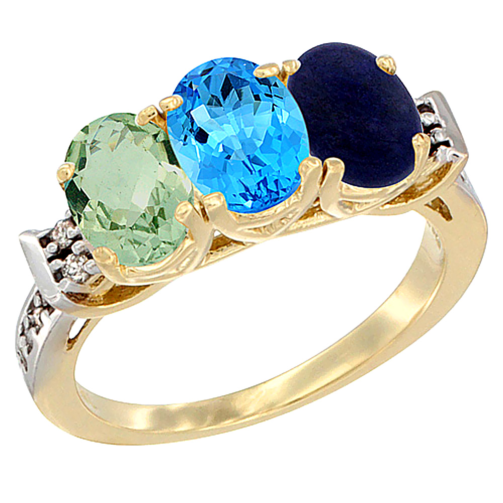 14K Yellow Gold Natural Green Amethyst, Swiss Blue Topaz & Lapis Ring 3-Stone 7x5 mm Oval Diamond Accent, sizes 5 - 10