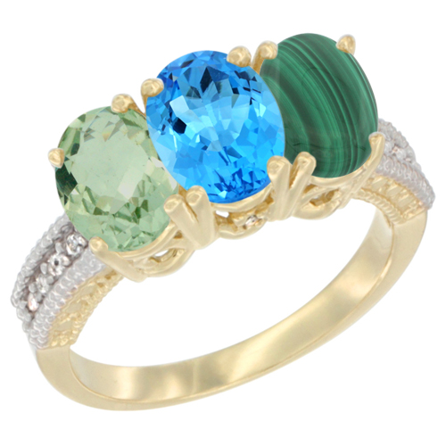 14K Yellow Gold Natural Green Amethyst, Swiss Blue Topaz & Malachite Ring 3-Stone 7x5 mm Oval Diamond Accent, sizes 5 - 10