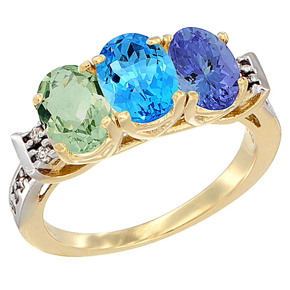 14K Yellow Gold Natural Green Amethyst, Swiss Blue Topaz & Tanzanite Ring 3-Stone 7x5 mm Oval Diamond Accent, sizes 5 - 10