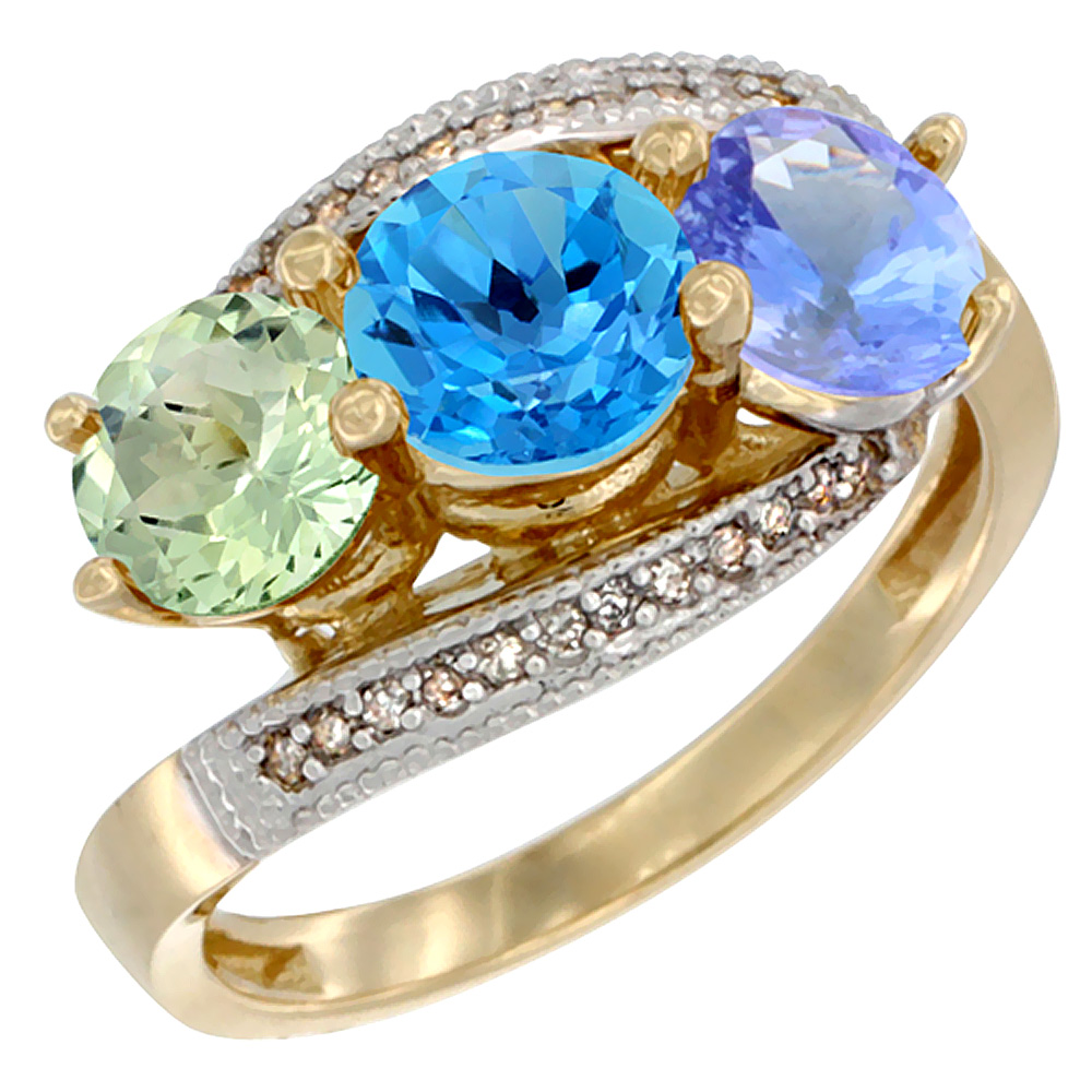 14K Yellow Gold Natural Green Amethyst, Swiss Blue Topaz & Tanzanite 3 stone Ring Round 6mm Diamond Accent, sizes 5 - 10