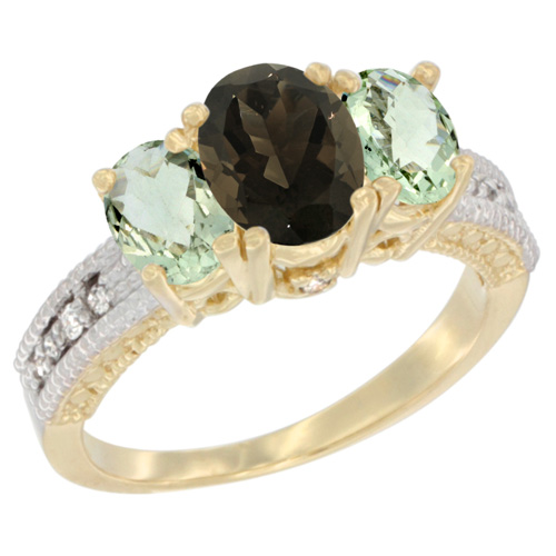 10K Yellow Gold Diamond Natural Smoky Topaz Ring Oval 3-stone with Green Amethyst, sizes 5 - 10