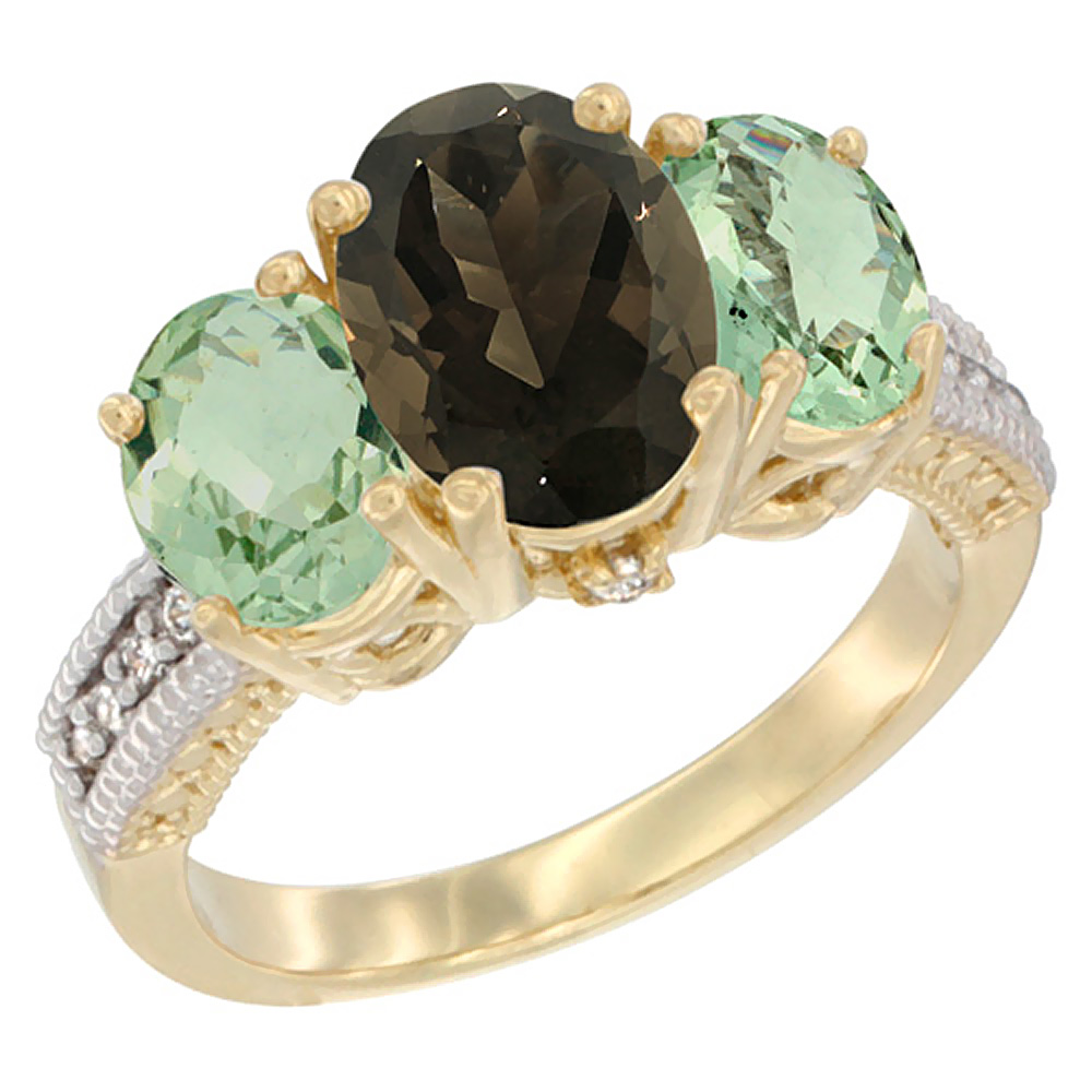 10K Yellow Gold Natural Smoky Topaz Ring Ladies 3-Stone 8x6 Oval with Green Amethyst Sides Diamond Accent, sizes 5 - 10