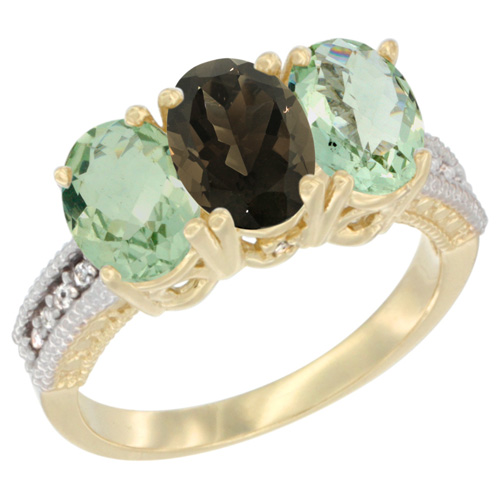 10K Yellow Gold Diamond Natural Smoky Topaz & Green Amethyst Ring Oval 3-Stone 7x5 mm,sizes 5-10
