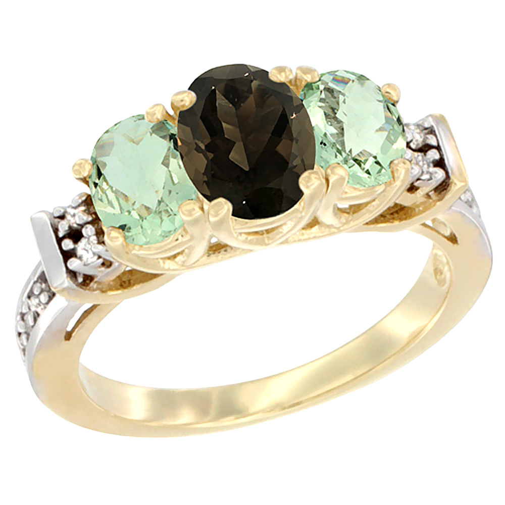 10K Yellow Gold Natural Smoky Topaz & Green Amethyst Ring 3-Stone Oval Diamond Accent