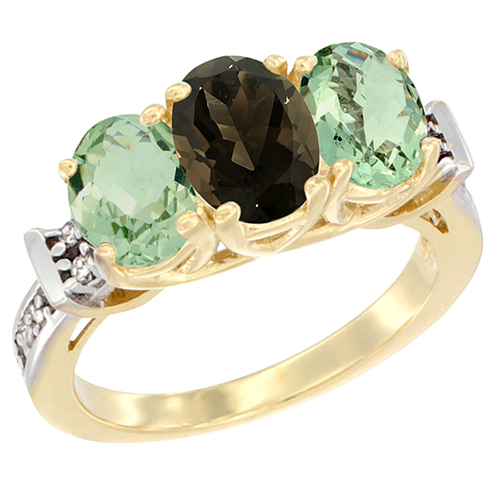 10K Yellow Gold Natural Smoky Topaz & Green Amethyst Sides Ring 3-Stone Oval Diamond Accent, sizes 5 - 10