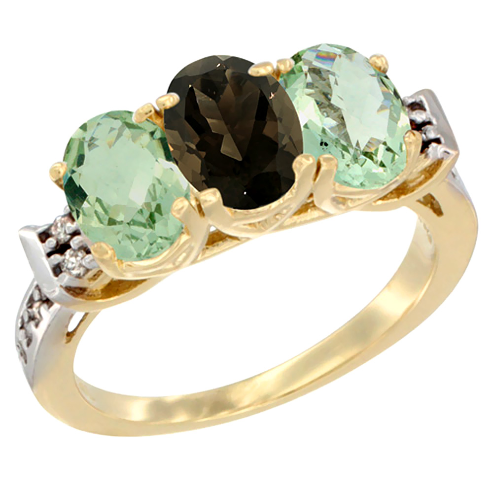 10K Yellow Gold Natural Smoky Topaz & Green Amethyst Sides Ring 3-Stone Oval 7x5 mm Diamond Accent, sizes 5 - 10