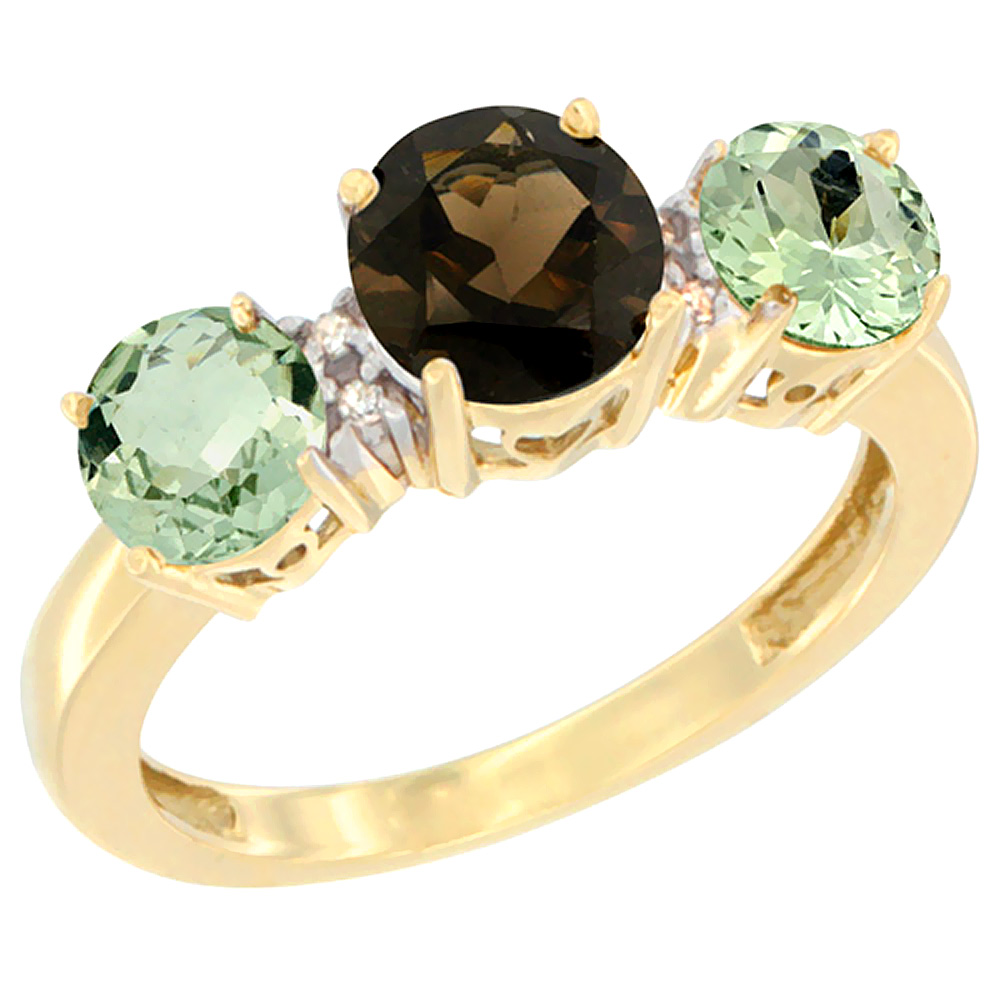 10K Yellow Gold Round 3-Stone Natural Smoky Topaz Ring & Green Amethyst Sides Diamond Accent, sizes 5 - 10