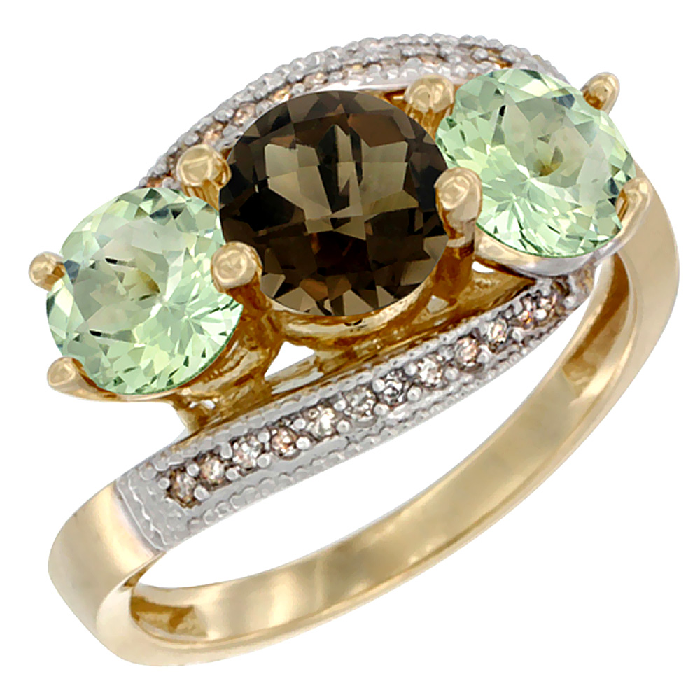 10K Yellow Gold Natural Smoky Topaz & Green Amethyst Sides 3 stone Ring Round 6mm Diamond Accent, sizes 5 - 10