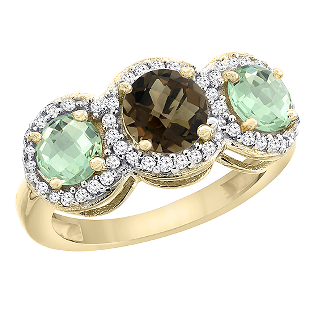 10K Yellow Gold Natural Smoky Topaz & Green Amethyst Sides Round 3-stone Ring Diamond Accents, sizes 5 - 10
