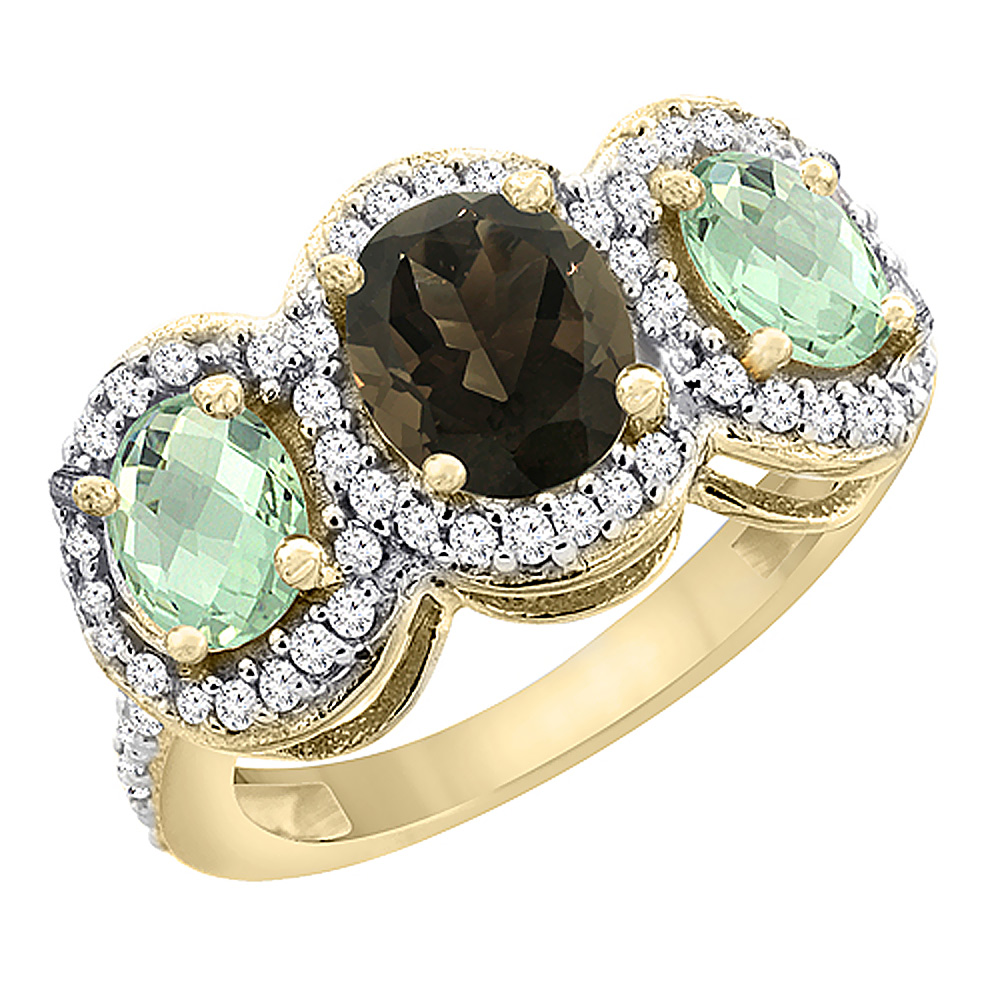 10K Yellow Gold Natural Smoky Topaz & Green Amethyst 3-Stone Ring Oval Diamond Accent, sizes 5 - 10
