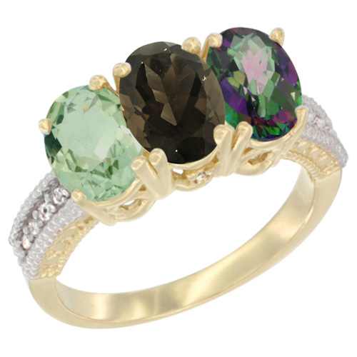10K Yellow Gold Diamond Natural Green Amethyst, Smoky Topaz & Mystic Topaz Ring Oval 3-Stone 7x5 mm,sizes 5-10