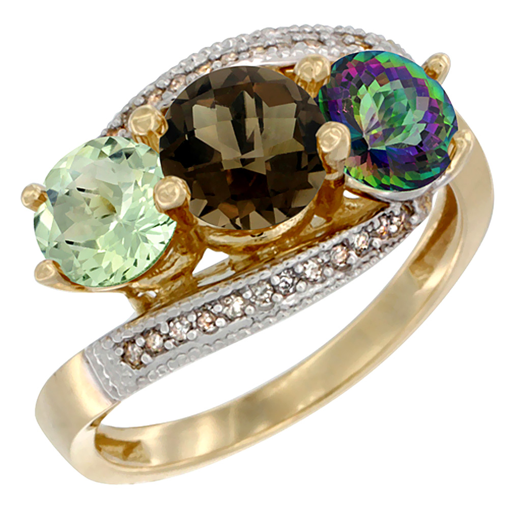 10K Yellow Gold Natural Green Amethyst, Smoky & Mystic Topaz 3 stone Ring Round 6mm Diamond Accent, sizes 5 - 10