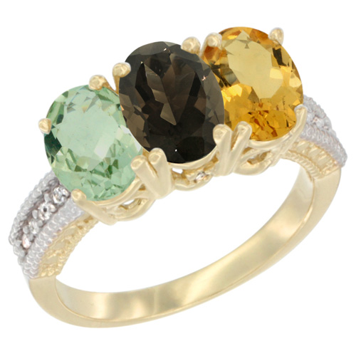 10K Yellow Gold Diamond Natural Green Amethyst, Smoky Topaz & Citrine Ring Oval 3-Stone 7x5 mm,sizes 5-10