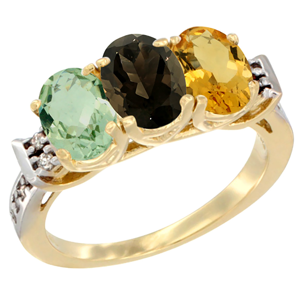 10K Yellow Gold Natural Green Amethyst, Smoky Topaz & Citrine Ring 3-Stone Oval 7x5 mm Diamond Accent, sizes 5 - 10